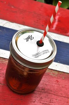 Turn a Mason Jar Into a Spillproof Cup with a Straw! Making these for camping.  Keep bugs out and goodness in! Add names and the jar is theirs.