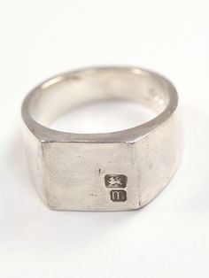 Mens Square Signet Ring Hallmarked - Macha Jewelry