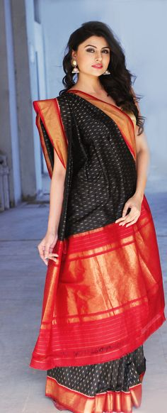 The allure of a #black and #red #saree