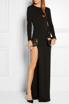 Haney | Asymmetric embroidered stretch-crepe gown | NET-A-PORTER.COM