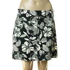 74b1f1c12f White House Black Market A Line Skirt Womens Size 14 Black White Floral  Cotton #fashion