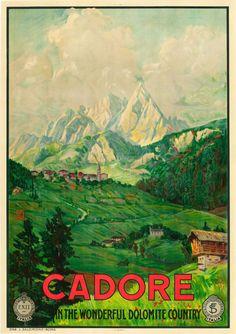 CADORE ITALY Travel Poster  - Dolomites, province of Belluno, Veneto, Northern Italy