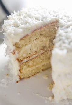 Moist, fluffy, and soft, this four layer Coconut Cake recipe has the perfect amount of sweetness that is filled and topped with coconut cream cheese frosting and even more coconut. Moist Coconut Cake Recipe, Almond Coconut Cake, Coconut Recipes, Almond Cakes, Baking Recipes, Coconut Cakes, Coconut Cream, Coconut Cake Easy, Coconut Buttercream