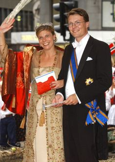 Princess Laurentien and Prince Constantijn of the Netherlands departs Oslo Cathedral after the wedding ceremony; wedding of Crown Prince Haakon of Norway and ms. Mette-Marit Tjessem Høiby, August 25th 2001