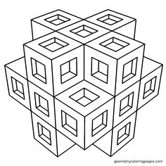 Geometric Coloring Page, Cubicle from geometrycoloringpages.com