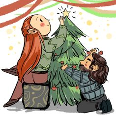 Doodles - Kiliel I say we should anticipate all the hobbit christmas AU because in december we will all be too busy drowning in tears.