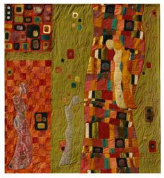 "Klimt-inspired quilt by Ellen Siemer: Dochters van het licht 2011. 107 x 97 cm. The paintings of Gustav Klimt have for many years my interest.  Reading the book ""Daughters of the Light"" by Deepak Chopra brought them to life. #paintings #quilting #sewing #EllenSiemer #klimt #gustavKlimt"