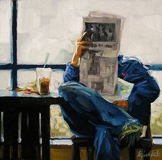 Daily News - Karin Jurick , 2007 Oil on masonite, 6 x 6 in. Painting People, Figure Painting, Painting & Drawing, Newspaper Art, Reading Art, Coffee Reading, Illustration Art, Illustrations, Daily News