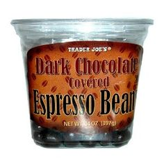 Trader Joe's Dark Chocolate Covered Espresso Beans 14 oz.  Order at http://www.amazon.com/Trader-Joes-Chocolate-Covered-Espresso/dp/B009RS7VIK/ref=zg_bs_16322461_89?tag=bestmacros-20