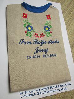 Košieľka na krst K15 - ľan - modré meno a dátum + Som Božie dieťa Reusable Tote Bags