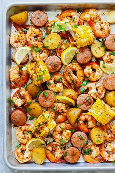 Shrimp boil recipe with old bay, shrimp, potatoes, corn and smoked sausages in shrimp boil Cajun seasoning. Cajun Shrimp Boil Recipe, Spicy Shrimp Recipes, Seafood Boil Recipes, Cajun Recipes, Cooking Recipes, Healthy Recipes, Healthy Food, Food Shrimp, Healthy Plate
