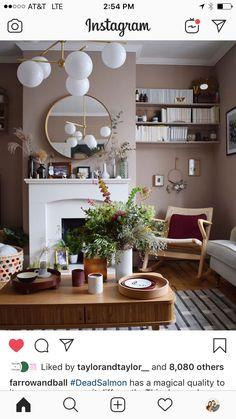 """""""Dead Salmon"""" Farrow and Ball Living Room Warm, Paint For Kitchen Walls, Farrow And Ball Living Room, Master Bedrooms Decor, Dining Room Colors, Victorian Living Room, Dreamy Living Room, Living Room Wall Color, Dining Room Walls"""