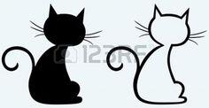 cat silhouette: Silhouette de chat noir Illustration