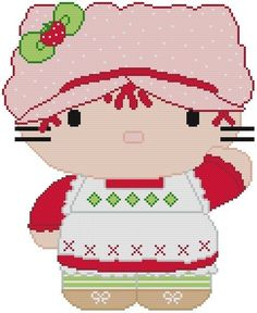 Cross Stitch Knit Crochet Plastic Canvas Waste Canvas Rug Hooking and Bead Work Pattern  Hello Kitty Strawberry Shortcake doll!    https://www.pinterest.com/resparkled/