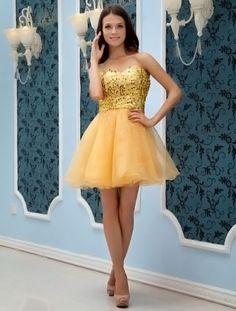 Sweet Gold Strapless Sweetheart Mini Length Yarn Cocktail Dress