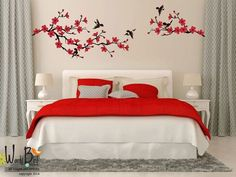 Cherry Blossom branch wall decal birds wall sticker nursery childrens decal vinyl wall decal Anybody can create a residence sweet home, even. Wall Decals For Bedroom, Nursery Wall Stickers, Wall Designs For Bedroom, Bedroom Red, Bedroom Decor, Trendy Bedroom, Bedroom Ideas, Wall Painting Decor, Wall Art