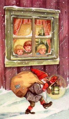 Nordic Thoughts: Outside the house. Swedish Christmas, Scandinavian Christmas, Christmas Elf, Vintage Christmas Images, Christmas Photos, Christmas Knomes, Scandinavian Gnomes, Christmas Inspiration, Vintage Cards