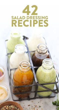 Top your favorite salad with one of these homemade dressing recipes or use them as a tasty marinade recipe for veggies or meat! Best Salad Dressing, Salad Dressing Recipes, Homemade Seasonings, Homemade Sauce, Homemade Dressing Recipe, Homemade Salad Dressings, Plat Vegan, Sauces, Easy Salads