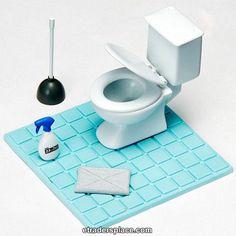 Re-ment Pose Skeleton Toilet Set