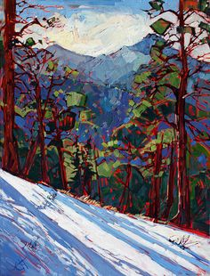 Mount Charleston Art Print by Erin Hanson. Discover the contemporary impressionism oil paintings of popular California-based landscape painter Erin Hanson. Erin Hanson, Landscape Art, Landscape Paintings, Oil Paintings, Painting Art, Painting Portraits, Painting Videos, Painting Abstract, Acrylic Paintings
