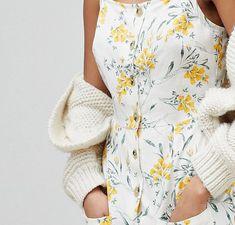 ASOS Tall | ASOS DESIGN Tall button through linen midi sundress in floral print