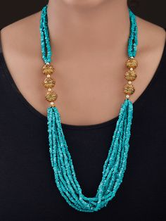 Buy Beige Turquoise Gold Plated Silver Kundan Necklace online at Theloom