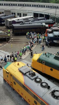 Here's a shot from above as the engines are being turned in preparation for the grand introduction at the Streamliners Event at the N.C. Transportation Museum. nctrans.org