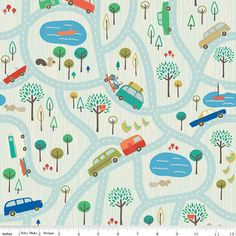 Scenic Route Map on Blue From Riley Blake 1 by StitchStashDiva, $8.95