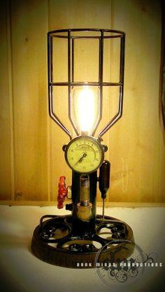 Steampunk Industrial Lamp  w/ Machine Steam Gauge / Vintage collectible Light