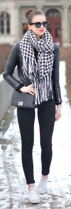 Black And White Houndstooth Scarf by Vogue Haus