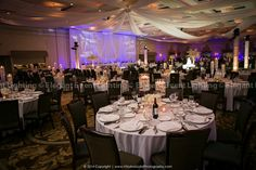 Every detail of Terra  John's wedding lighting and décor design was perfectly tied together and completely personalized The Grand Ballroom.