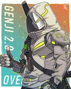 Overwatch Genji, Overwatch Comic, Overwatch Fan Art, Game Character Design, Fantasy Character Design, Character Art, Arte Ninja, Ninja Art, Genji And Hanzo