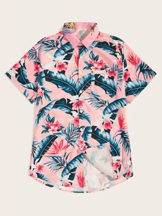 Product name: Men Tropical & Floral Print Hawaiian Shirt at SHEIN, Category: Men Shirts Hawaiian Print Shirts, Outfits Hombre, Floral Print Shirt, Summer Shirts, Shirt Outfit, Fashion News, Button Up Shirts, Mens Tops, How To Wear