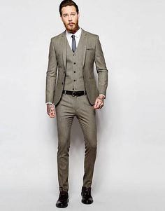 ASOS Super Skinny Suit Jacket In Brown Dogstooth