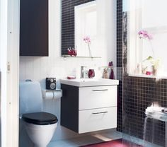 #Bathroom : Black And White Small Small Space# IKEA Bathroom Design With Wall Mounted #Vanity With White Glossy Drawer Also Single Tank Sink And Modern Toilet And Glass Walls And Hite Ceramics Backdrop Design Ideas: Awesome IKEA Bathrooms Design and Decor Ideas
