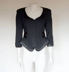 Hello Im glad youre here PANDORA FASHION shop  I offer vintage THIERRY MUGLER jacket 100% cotton lining 100% acetate size on tag-38 used in very good condition color:black  beautiful close-fitting waist.  total length 58 cm/22,83 inch width shoulders 41 cm/16,14 inch width armpit to armpit 46 cm/18,11 inch width waist 33 cm/ 12,99 inch length sleeves 48 cm/18,90 inch length sleeve from armpit 33 cm/12,99 inch   If you have any question write to me  JOIN ME ON FAC...