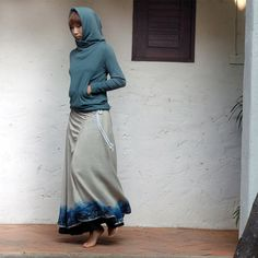 teal contemporary design hoodie with grey & blue drawstring asymmetrical skirt