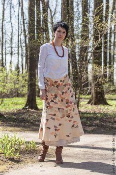"""Юбка """"Гербарий"""" войлок - пятнистый рисунок,юбка из войлока,одежда из войлока"""