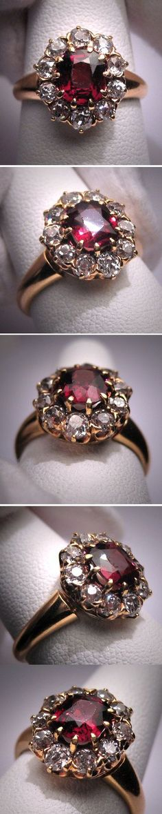 Rate this from 1 to Wedding Rings Antique Garnet Diamond Wedding Ring Vintage Victorian CERTIFIED - GIA Certified Huge Round Morganite & Diamonds Candy Antique Wedding Rings, Diamond Wedding Rings, Vintage Rings, Wedding Vintage, Trendy Wedding, Diamond Rings, Wedding Bands, Vintage Style, Vintage Diamond