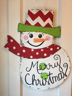 Merry Christmas Snowman Door Hanger by GeorgiaWatercolor on Etsy