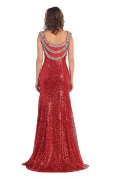 This dazzling floor length formal evening and prom dress comes with sleeveless, sweetheart neckline, rhinestone one top and fully sequins with stunning back side. Fabric : Sequins Closure : Side Zippe                                                                                                                                                                                 More