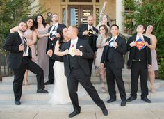 Photo by Brandi of Ashelle Photography. Chelsea & Jordan Cooke and the Bridal Party. Groomsmen in Superhero T-shirts May 7, 2016 YWCA Downtown Fort Worth, Texas Historic Building