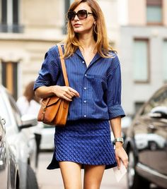 Striped oxford with blue patterned mini skirt // Photo: The Styleograph #MFW #streetstyle