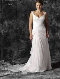 Elizabeth de Varga Farrah gown, Rosewater silk chiffon, silk charmeuse, white hand appliqued beaded lace