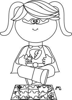 Black and White Girl Superhero with a Puzzle