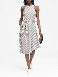 e630693443e Tweed Stripe Asymmetrical-Hem Dress at banana-republic