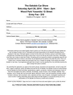 Best Car Show Registration Forms Images On Pinterest - Car show registration form template