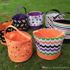 Wholesale Blanks 2016 Candy Pattern Multi Colors Stripe Halloween Buckets Baskets Candy Bag Trick Or Treat Gift Bag DOM1038160 Online with $501.71/Piece on Domildiscountshop's Store | DHgate.com