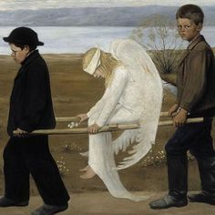 The Wounded Angel is a painting by Finnish symbolist painter Hugo Simberg.the atmosphere is melancholic: the angelic central figure with her bandaged eyes and bloodied wing, the sombre clothing of her two youthful bearers. via Wikipedia. Portraits, Unusual Art, Angel Art, Occult, Impressionism, My Images, Art History, Photo Art, Statue