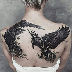 Raven. #Repost @insigniatattoo with @repostapp ・・・ Another stunning artwork. These  ravens look so alive. It's like they can fly away at any moment. Tag a friend who would like this. All credit goes to @monika_malewska #tattoo #tattoos #girlswithtattoos #tattooed #tattooartist #tattooart #tattooedgirls #ink #instatattoo #tattoolife #tattoodesign #tattooflash #traditionaltattoo #inked #tattooedgirl #tattooist #backtattoo #tattoogirl #tattooing  #raventattoo #blacktattoo  #tattoolover…